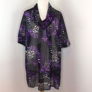 Lane Bryant Purple & Black Sheer Blouse